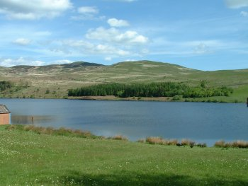 View of Bishop Forest Hill from across Glenkiln reservoir
